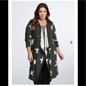 Long drape cardigan sweater